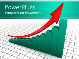 PowerPoint template displaying green colored bar chart with a red arrow on it