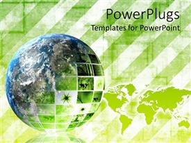 PowerPlugs: PowerPoint template with green colored earth globe on a light green background