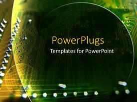 PowerPlugs: PowerPoint template with green computer chip with silver transistors
