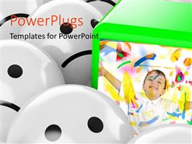 PowerPlugs: PowerPoint template with a green cube with a happy kid and lots of white sad faced balls around it