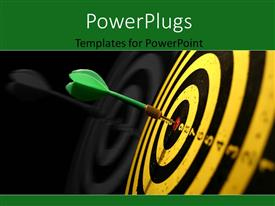 PowerPlugs: PowerPoint template with a green dart hitting the middle of a dart board