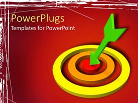 PowerPlugs: PowerPoint template with green dart hitting red bulls eye of target over red background