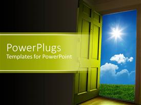 PowerPlugs: PowerPoint template with green door opening to green grass and blue sky