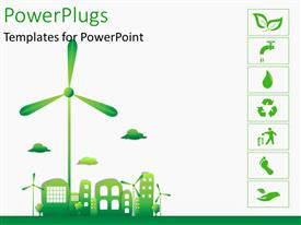 PowerPlugs: PowerPoint template with green and ecology city with various recycle icons on the right