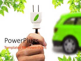 PowerPlugs: PowerPoint template with green electric car, hand with white leaf motif plug, green leaf corners, white background