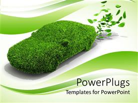 PowerPoint template displaying green emissions grass car with leaves on wave green and white background