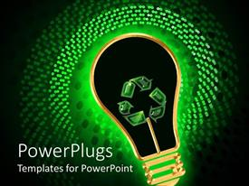 PowerPlugs: PowerPoint template with green energy metaphor with glowing light bulb recycle symbol