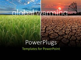 PowerPlugs: PowerPoint template with green farms on one side and infertile land on the other, a global warming concept