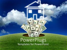 PowerPlugs: PowerPoint template with green field land with a hole in the middle and dollar bills flying