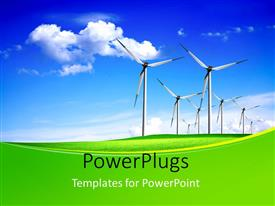 PowerPlugs: PowerPoint template with green field with line of wind vanes over blue cloudy sky