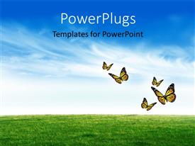 PowerPlugs: PowerPoint template with a green field with a number of butterflies