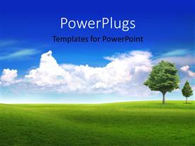 PowerPlugs: PowerPoint template with a green field and trees with clouds in the background
