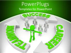 PowerPlugs: PowerPoint template with green figure with arms out leads group of white figures in neck ties