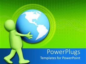 PowerPoint template displaying green figure carries large blue and white globe