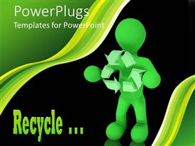 Beautiful slides having green figure holding recycle symbol in front of black background