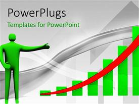 PowerPlugs: PowerPoint template with green figure pointing to bar chart with red upward arrow