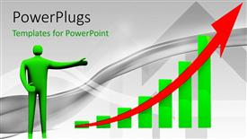 PowerPoint template displaying green figure pointing to bar chart with red upward arrow