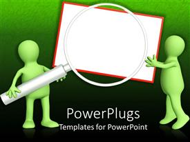 PowerPlugs: PowerPoint template with green figures holding gigantic magnifying lens against white board
