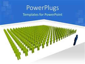 PowerPoint template displaying green figures in parade with blue figure in front of them