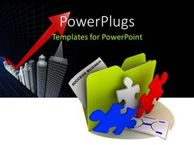 PowerPoint template displaying green folder icon beside colored puzzle pieces and office buildings