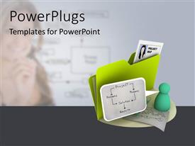 PowerPoint template displaying a green folder with an icon of a project plan