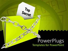 PowerPlugs: PowerPoint template with green folder marked top secret tied with metallic chains