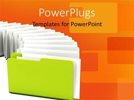 PowerPlugs: PowerPoint template with green folder in a row with orange color