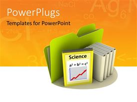 PowerPlugs: PowerPoint template with a green folder and science books on an orange background