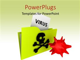 PowerPlugs: PowerPoint template with a green folder with a text that spells out the word 'Virus '