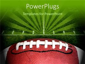 PowerPoint template displaying green football pitch and leather football close up