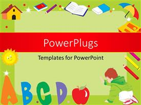 PowerPlugs: PowerPoint template with green frame with alphabets ABCD, books, colors, umbrella, eraser, house and a kid