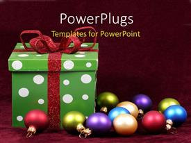 PowerPlugs: PowerPoint template with green gift box with   colored ornaments on red background