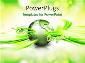 PowerPlugs: PowerPoint template with a green globe with greenish background