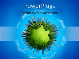 PowerPlugs: PowerPoint template with a green globe with a lot of trees and bluish background