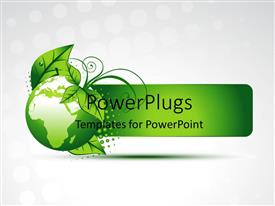 PowerPlugs: PowerPoint template with green globe with map and green leaves on white background
