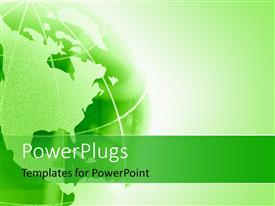 PowerPlugs: PowerPoint template with green globe with map over green background
