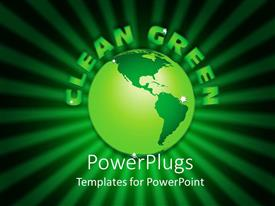 PowerPoint template displaying a green globe with a number of greenish lines in background