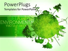 PowerPlugs: PowerPoint template with green globe with trees animals windmills people signpost and eiffel tower on earth with words related to environment on green background
