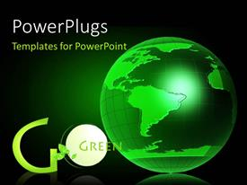 PowerPlugs: PowerPoint template with the green globe with the words go green