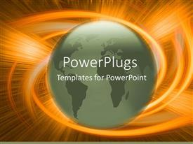 PowerPoint template displaying green globe world Earth with explosive orange swirl background