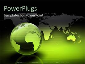 PowerPlugs: PowerPoint template with green globe of world technology light hope humanity communication