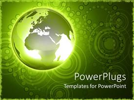 PowerPlugs: PowerPoint template with green glowing earth globe on a green background with circular shape