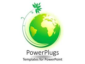 PowerPlugs: PowerPoint template with green and gold earth globe with green plant on it