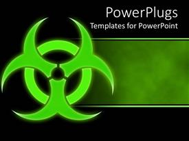 PowerPlugs: PowerPoint template with green hazmat symbol bio hazard green and black background