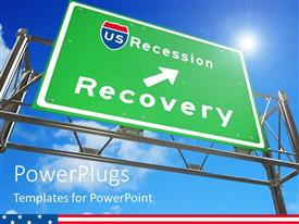 PowerPlugs: PowerPoint template with green highway sign with arrow to Recession Recovery on blue sky