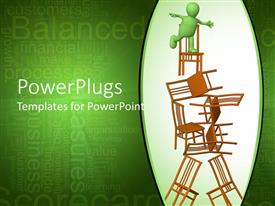 PowerPlugs: PowerPoint template with green human figure trying to balance itself on a stack of chairs