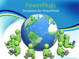 PowerPoint template displaying green human figures sitting round a blue earth globe