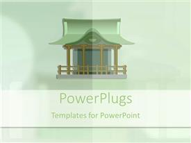 PowerPoint template displaying green Japanese house on a light green hue background