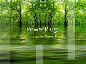 PowerPlugs: PowerPoint template with green lake in a forest as a metaphor with a yellow background