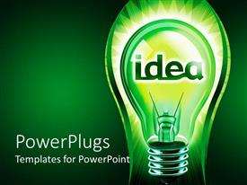 PowerPlugs: PowerPoint template with green lightbulb with yellow inside and the word idea